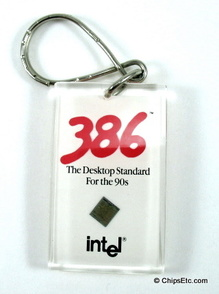 image of an Intel keychain with 386 387 cpu chip
