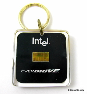image of an intel keychain with 486 overdrive processor chip