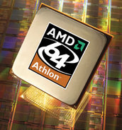 image of the AMD 64 Athlon processor & wafer