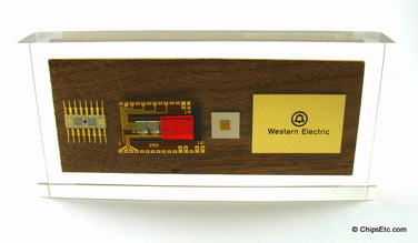 Western Electric Lucite paperweight with computer chips