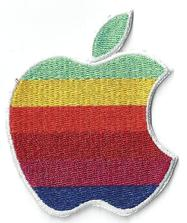 apple computer rainbow logo patch