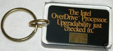 image of an intel keychain with 486 Overdrive CPU chip
