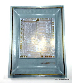 image of the Intel 8080 microprocessor collectible glass dish