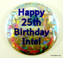 image of an Intel 25th party santa clara button