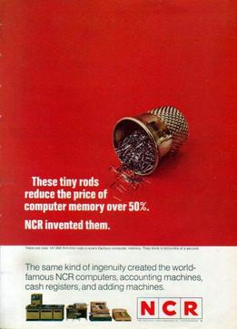 image of an NCR computer memory rods ad from 1968