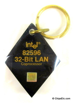 image of an intel keychain with 82596 LAN co-processor chip