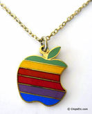 Apple rainbow logo necklace