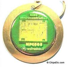 image of a Motorola MPC505 RISC Microcontroller chip keychain