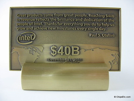 image of an intel plaque with otellini revenue chip