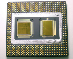 Intel Pentium Pro processor cpu and memory chips close-up
