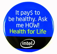 image of an intel health for life employee button