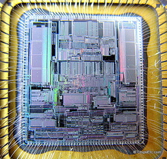 image of a Motorola microprocessor chip close-up