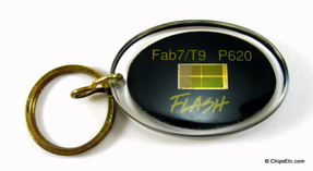 image of an intel keychain with fab 7 T9 P620 flash memory chip
