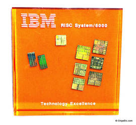 IBM paperweight with a RISC system 6000 RS/6000 PowerPC microprocessor chips