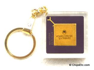 image of a apple Macintosh Motorola MC68020 Microprocessor chip Keychain
