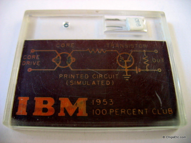 IBM CBS-HYTRON 2N36 Germanium transistor and core memory doughnut  early 1950's