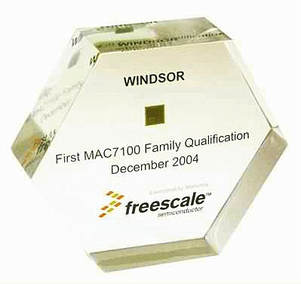 Freescale Semiconductor chip paperweight